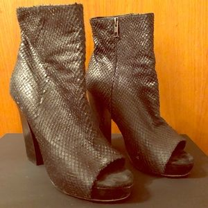 All Saints python inspired blk open toe booties 9